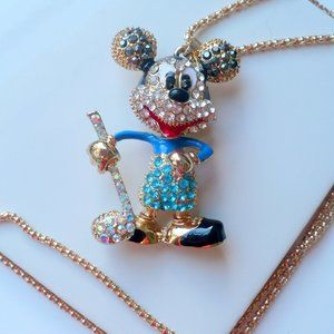 Jewelry - ❤️ NEW Necklace Rhinestone Micky Mouse Bobble Head